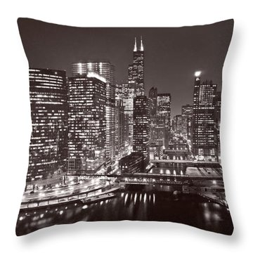 Chicago River Panorama B W Throw Pillow by Steve Gadomski
