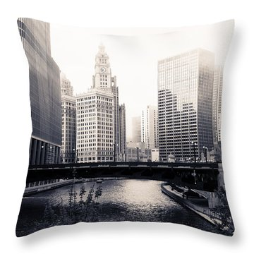 Chicago River Skyline Throw Pillow by Paul Velgos