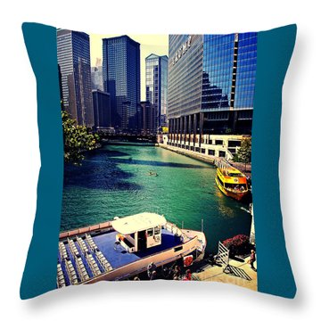 City Of Chicago - River Tour Throw Pillow