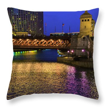 Chicago River Ver2 Throw Pillow by Raymond Kunst