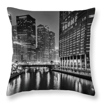 Chicago River View At Night Throw Pillow by Andrew Soundarajan