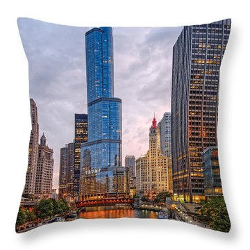 Chicago Riverwalk Equitable Wrigley Building And Trump International Tower And Hotel At Sunset  Throw Pillow