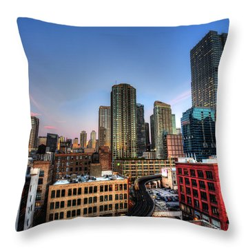 Chicago Rooftop And Sunset Throw Pillow by Shawn Everhart