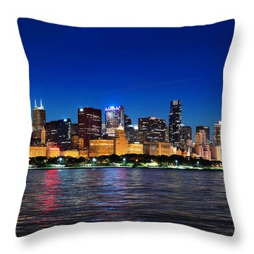 Chicago Shorline At Night Throw Pillow