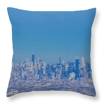 Chicago Skyline Aerial View Throw Pillow