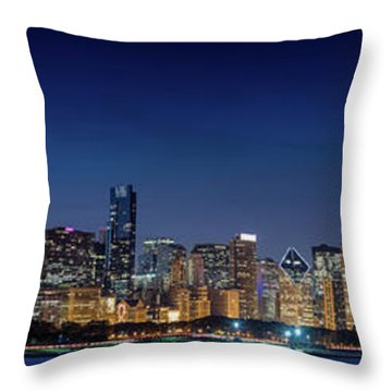 Throw Pillow featuring the photograph Chicago Skyline After Sunset by Emmanuel Panagiotakis