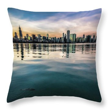Chicago Skyline And Fish At Dusk Throw Pillow