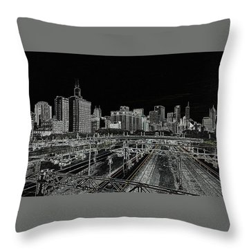 Chicago Skyline And Tracks Throw Pillow