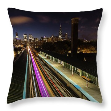 Chicago Skyline And Train Lights Throw Pillow