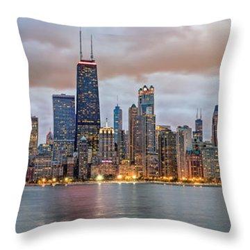 Chicago Skyline At Dusk Throw Pillow