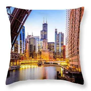 Chicago Skyline At Night And Kinzie Bridge Throw Pillow