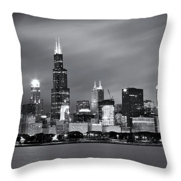 Throw Pillow featuring the photograph Chicago Skyline At Night Black And White  by Adam Romanowicz