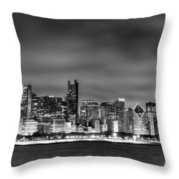 Chicago Skyline At Night Black And White Throw Pillow