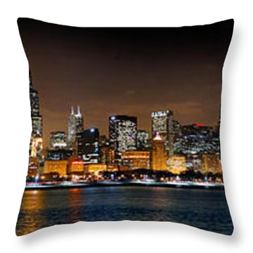 Chicago Skyline At Night Extra Wide Panorama Throw Pillow by Jon Holiday