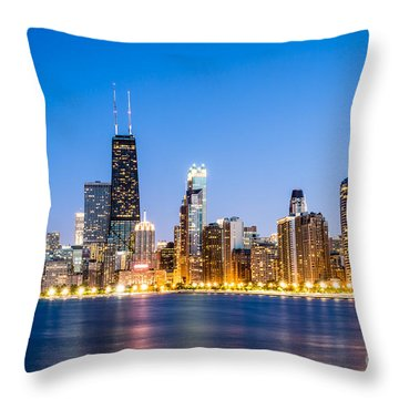 Chicago Skyline At Twilight Throw Pillow by Paul Velgos