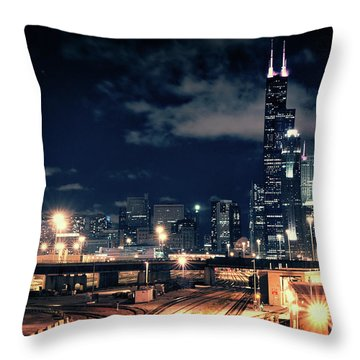 Chicago Skyline Cityscape At Night Throw Pillow
