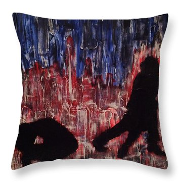Throw Pillow featuring the painting Chicago Skyline Fireworks Agony And The Waltz by M Zimmerman