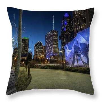 Chicago Skyline Form Maggie Daley Park At  Dusk Throw Pillow