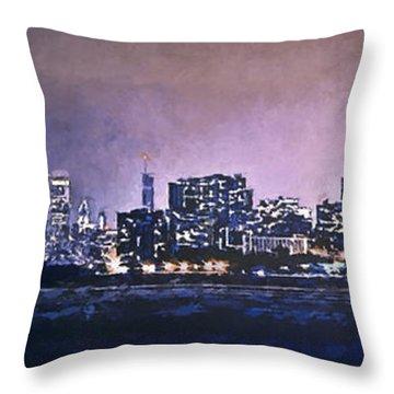 Chicago Skyline From Evanston Throw Pillow by Scott Norris
