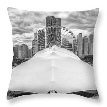 Throw Pillow featuring the photograph Chicago Skyline From Navy Pier Black And White by Adam Romanowicz