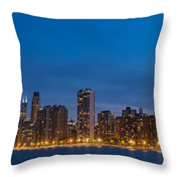 Chicago Skyline From North Ave Beach Panorama Throw Pillow