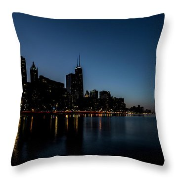 Chicago Skyline From Olive Park  Throw Pillow