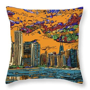 Chicago Skyline Panorama 2 Throw Pillow