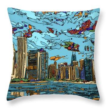 Chicago Skyline Panorama Throw Pillow