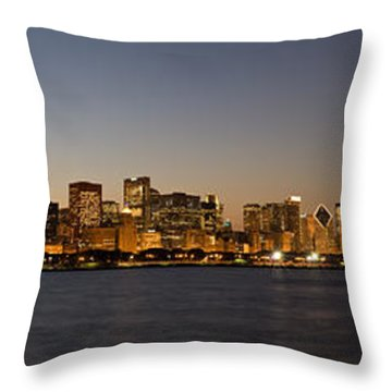 Chicago Skyline Panorama Throw Pillow by Steve Gadomski