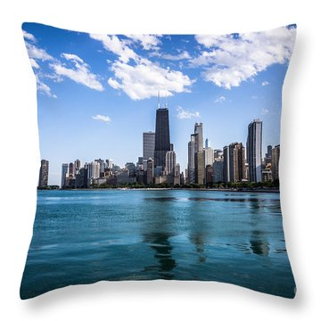 Chicago Skyline Photo With Hancock Building Throw Pillow by Paul Velgos