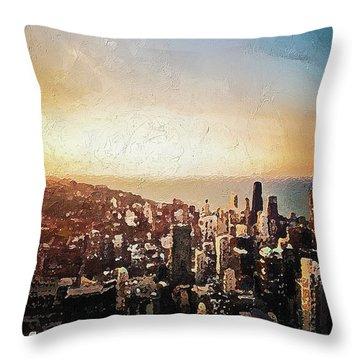 Throw Pillow featuring the digital art Chicago Skyline by PixBreak Art