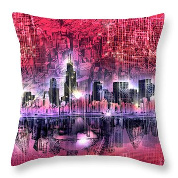 Chicago Skyline Red Version Throw Pillow