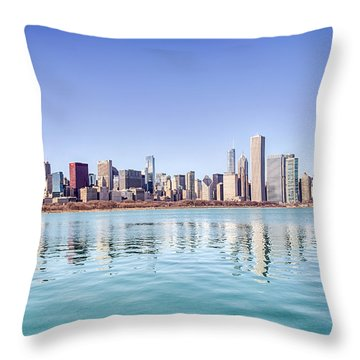 Chicago Skyline Reflecting In Lake Michigan Throw Pillow by Peter Ciro
