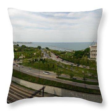 Chicago Skyline Showing Monroe Harbor Throw Pillow