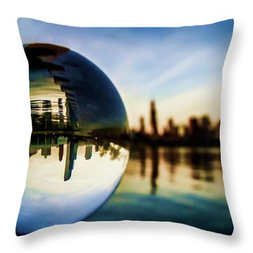 Chicago Skyline Though A Glass Ball Throw Pillow