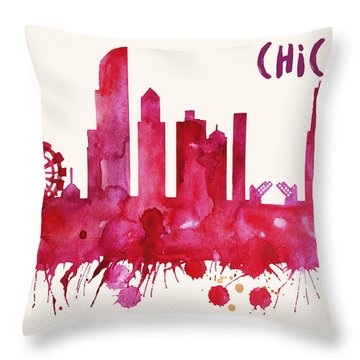 Chicago Skyline Watercolor Poster - Cityscape Painting Artwork Throw Pillow