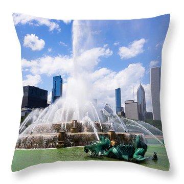 Chicago Skyline With Buckingham Fountain Throw Pillow by Paul Velgos