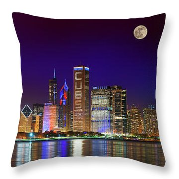 Chicago Skyline With Cubs World Series Lights Night, Moonrise, Lake Michigan, Chicago, Illinois Throw Pillow