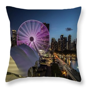 Chicago Skyline With New Ferris Wheel At Dusk Throw Pillow