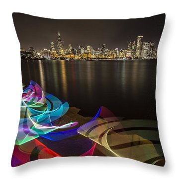 Chicago Skyline With Pixel Stick Painting Throw Pillow
