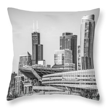 Chicago Skyline With Soldier Field And Willis Tower  Throw Pillow by Paul Velgos