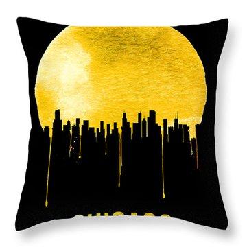 Chicago Skyline Yellow Throw Pillow by Naxart Studio