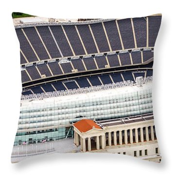 Chicago Soldier Field Aerial Photo Throw Pillow by Paul Velgos