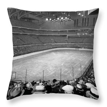 Chicago Stadium Prepared For A Chicago Blackhawks Game Throw Pillow