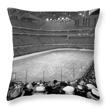 Throw Pillow featuring the photograph Chicago Stadium Prepared For A Chicago Blackhawks Game by Celestial Images