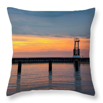 Throw Pillow featuring the photograph Chicago Sunrise At North Ave. Beach by Adam Romanowicz