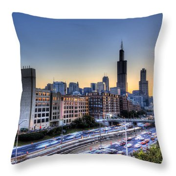 Chicago Sunrise Rush Hour Throw Pillow by Shawn Everhart