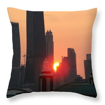 Chicago Sunset Throw Pillow by Glory Fraulein Wolfe