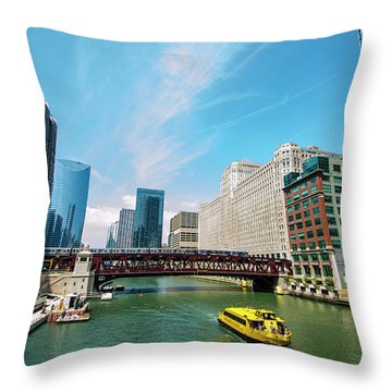 Throw Pillow featuring the photograph Chicago, That Toddlin' Town by Deborah Smolinske