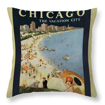 Chicago The Vacation City - Vintage Poster Vintagelized Throw Pillow